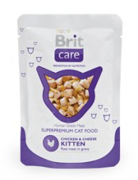 Brit Care Cat kapsa KITTEN Chicken & Cheese Pouch 80g (kuře & sýr)